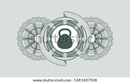 Green abstract rosette with kettlebell icon inside
