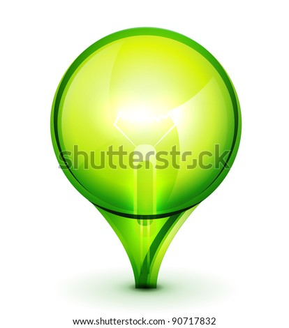 Green abstract sphere light bulb