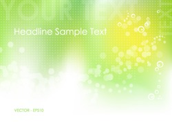 Green abstract spring background with green to white gradient, circles, dots and abstract sun - bokeh design - vector, eps10