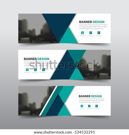 Green abstract triangle corporate business banner template, horizontal advertising business banner layout flat design set #534532291