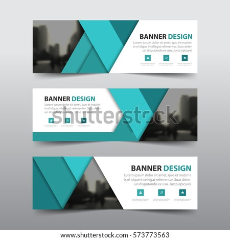 Green abstract triangle corporate business banner template, horizontal advertising business banner layout template flat design set , clean abstract cover header background for website design #573773563
