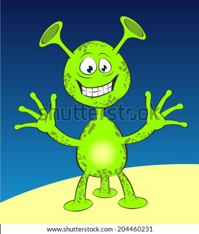 Green alien Jolly green alien with three legs and big ears