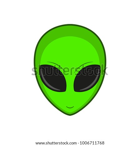 Green alien. Vector, isolated.