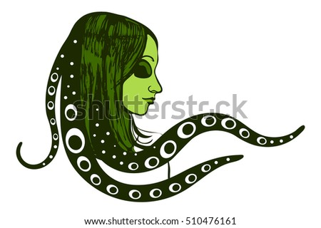 green alien woman girl with