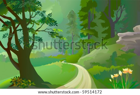green amazon forest with lonely