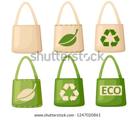 Green and beige fabric cloth or paper bag. Bags with recycling, green leaf and ECO symbols. Replacement plastic bags. Save Earth ecology. Flat vector illustration isolated on white background.