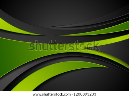 Green and black abstract wavy corporate digital background. Vector illustration #1200893233