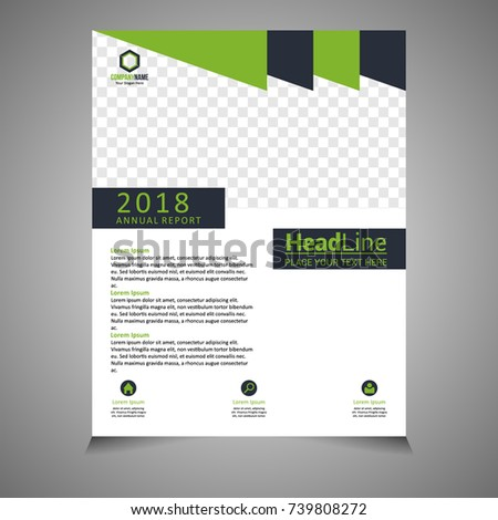 Green and Black annual report brochure flyer design template vector, Leaflet cover presentation abstract flat background. #739808272