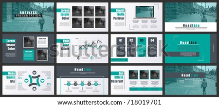 Green and black business presentation slides templates from infographic elements. Can be used for presentation, flyer and leaflet, brochure, marketing, advertising, annual report, banner, booklet.