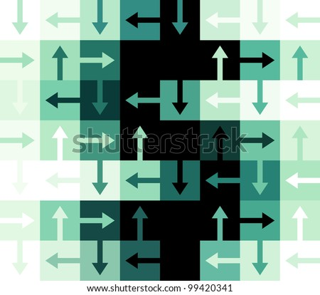 Green and black dollar sign constructed out of arrows and square rectangular shapes - stock vector