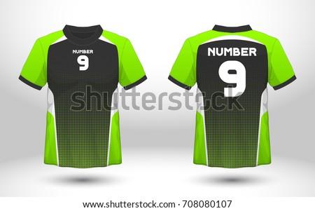 Green and black layout football sport t-shirt design. Template front, back view. Soccer kit national team shirt mock up. Vector Illustration.