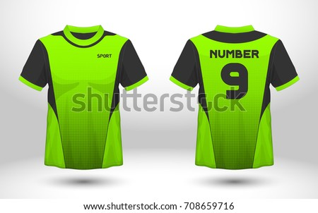 f0171a6db Green and black layout football sport t-shirt design. Template front, back  view