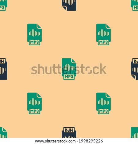 Green and black MP3 file document. Download mp3 button icon isolated seamless pattern on beige background. Mp3 music format sign. MP3 file symbol.  Vector Stock photo ©