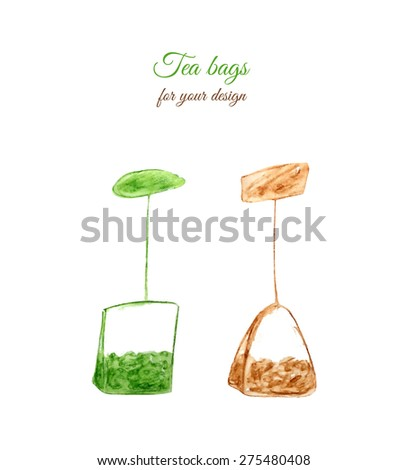 green and black tea bags on