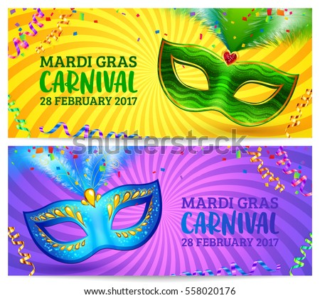 green and blue carnival masks