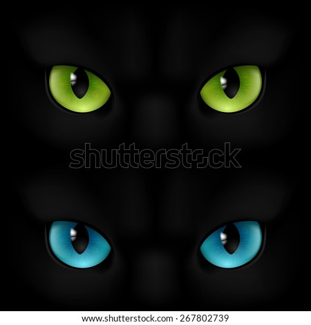 green and blue cats eyes on a