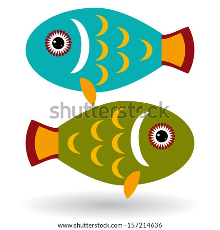 green and blue fish on a white