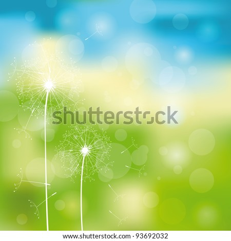 Green and blue light abstract background with dandelions - stock vector