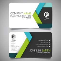 Green and blue modern creative business card and name card,horizontal simple clean template vector design, layout in rectangle size.
