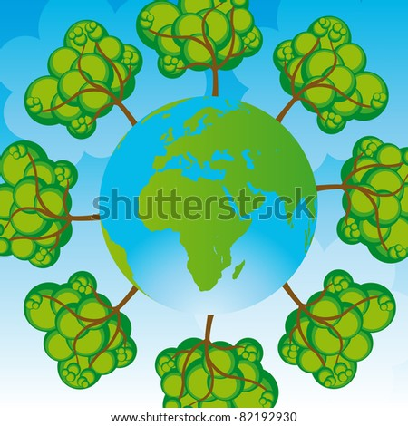 green and blue planet and tree over blue background. vector