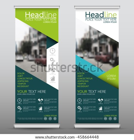 Green and blue roll up business banner design vertical template vector, cover presentation abstract geometric background, modern publication display and flag-banner, layout in rectangle size. #458664448
