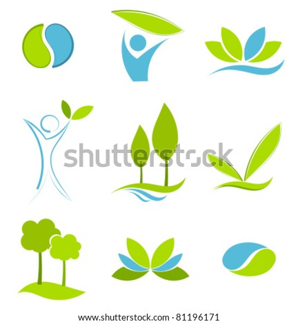 Green and blue symbols of eco life. Water and earth logo concepts
