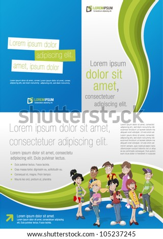 Green and blue template for advertising brochure with teenager students