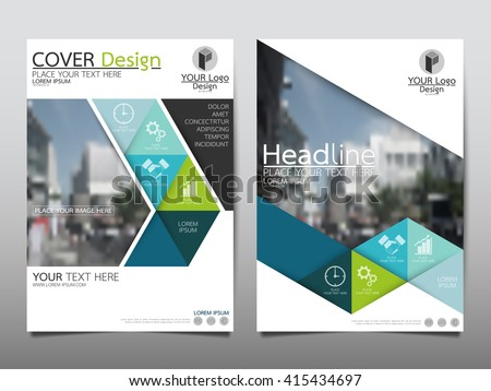 Green and blue triangle annual report brochure flyer design template vector, Leaflet cover presentation abstract flat background, layout in A4 size