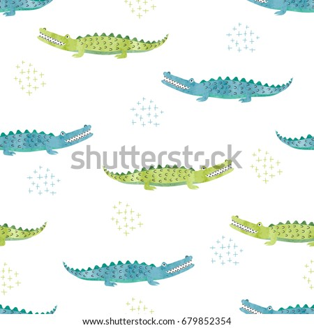 Green and blue watercolor crocodile pattern. Vector seamless background with alligators.