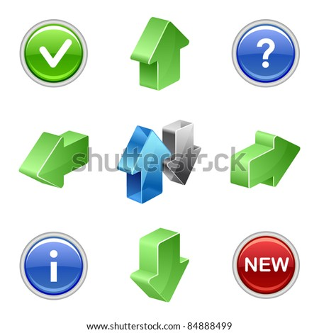 Green and blue web button arrow set