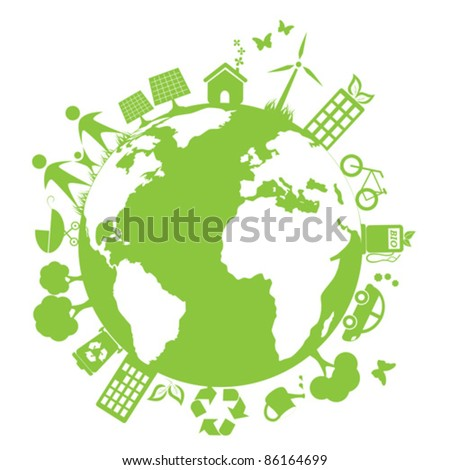 Green and clean environment symbols - stock vector