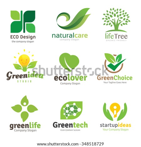 green and eco lover logo set