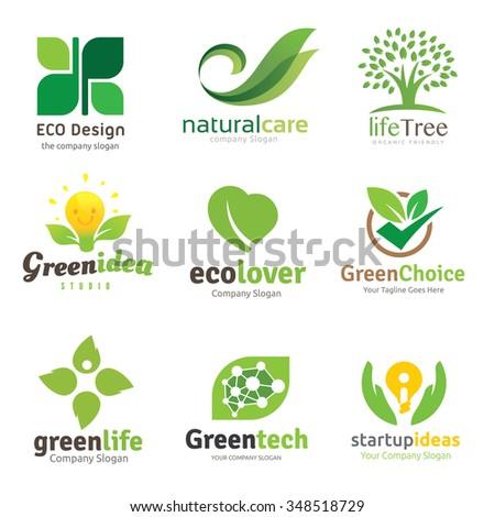 Green and Eco lover logo set,Logo set,logo collection,Vector logo template