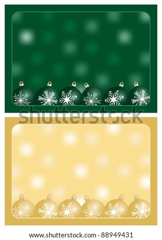 green and gold christmas greetings with christmas balls and blurred background