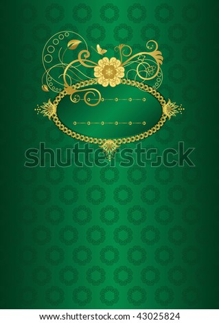 Green and gold floral card or book cover