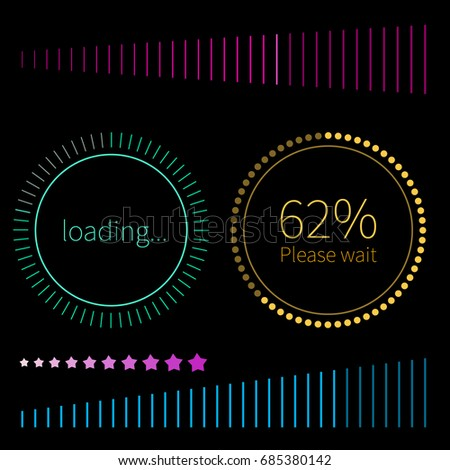 Green and gold round progress bars. Vector abstract symbol for webpage design. Loading and spinner with text - Loading. Round progress bar for interface web elements.