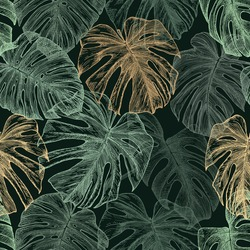 Green and golden tropical leaves on a dark green background. Drawn with pen and ink. Monstera leaf outlines in seamless pattern.  Botanical background.