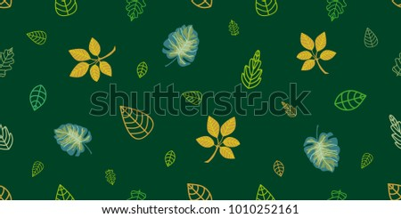 Green And Golden Wrapping Leaves On Emerald Background Seamless Vector Pattern With Botanical Motifs