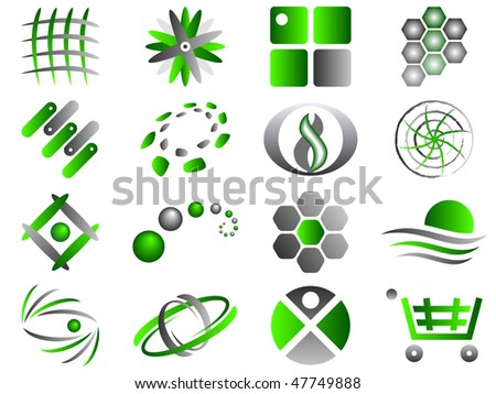 Green and Grey Abstract Vector Icon Design Element Set