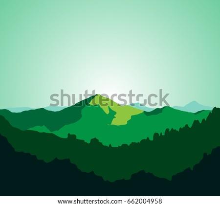 green and mountain vector