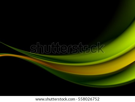 green and orange waves on black