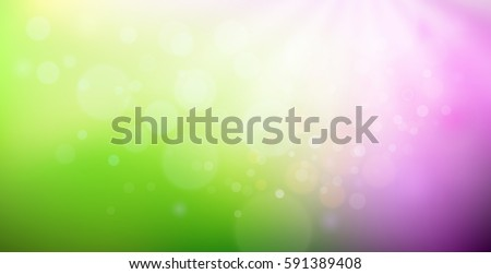 Green and purple gradient backdrop with bokeh effect. Abstract spring blurred background. Floral concept for your graphic design, banner or poster. Vector illustration.