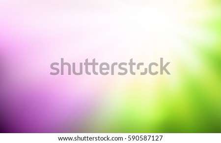 Green and purple gradient backdrop with bright sun rays. Abstract spring blurred background. Floral concept for your graphic design, banner or poster. Vector illustration.