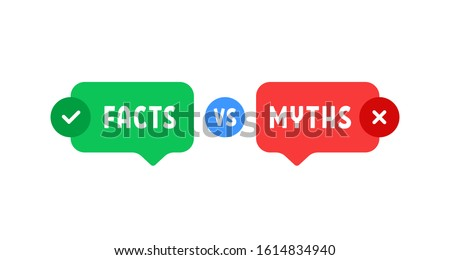 green and red bubbles with myths vs facts. concept of thorough fact-checking or easy compare evidence. flat cartoon style trend modern logotype graphic art design isolated on white background Photo stock ©