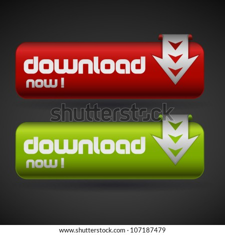 Green and red button with word download