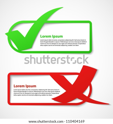Green and red check mark stickers or banners. Vector illustration