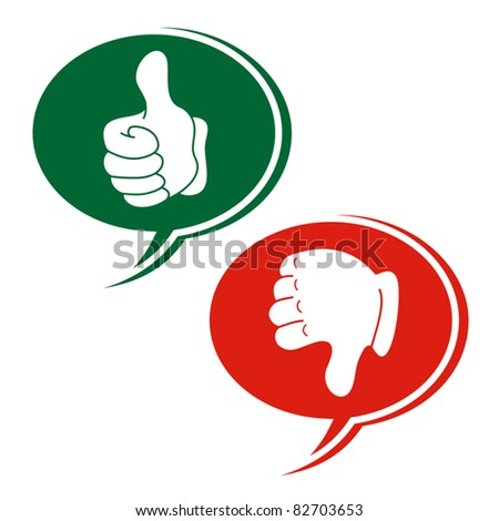 Green and red hands - stock vector