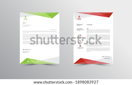 Green and red Modern Business Letterhead Design Template, Abtract Letterhead Design, Letterhead Template,  - vector