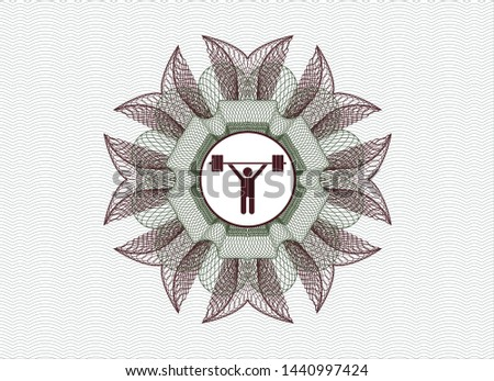Green and Red rosette. Linear Illustration with weightlifting icon inside