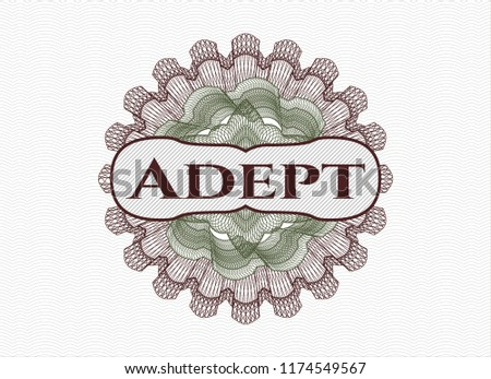 Green and Red rosette or money style emblem with text Adept inside